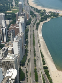 Beautiful Lake Shore Drive along Lake Michigan Chicago