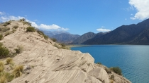 Beautiful landscape around Lake Potrerillos Mendoza Argentina