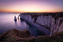 Beautiful morning light at the chalk cliffs of tretat Normandy
