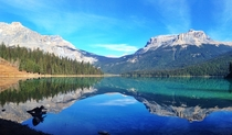 Beautiful mountain reflection at Emerald Lake Yoho National Park BC Canada