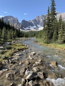 Beautiful mountain stream Paradise Valley Banff National Park Canada