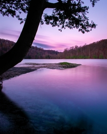 Beautiful pink sunrise long exposure at Green Lakes State Park NY Home to  of  Meromectic lakes in the world Extremely deep and mysterious waters that never overturn with underwater caves  IG trevorbelyea