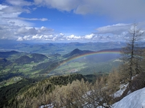 Beautiful rainbow hiking down from Kehlsteinhaus