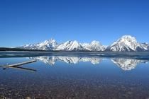 Beautiful reflection of Teton Mtn Ranges over Jackson Lake - Teton Natl Park