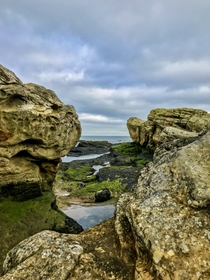 Beautiful rock formations by erosion on the coast of St Andrews in Scotland