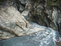 Beautiful rock formations on The Liwu River in Taiwan