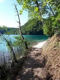 Beautiful scenery during a hike in Plitvice Lakes National Park Croatia