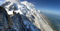 Beautiful Stitched Panorama of Mont Blanc the highest mountain in the Alps  photo by gorka orexa