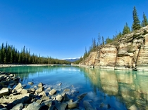 Beautiful sunny fall day at Athabasca Falls Alberta Canada