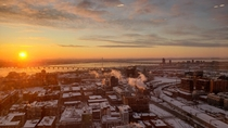 Beautiful sunrise over the new Samuel-de-Champlain bridge in Montreal Quebec Canada