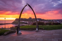 Beautiful sunset complemented by the famous whale bones of Whitby North Yorkshire UK