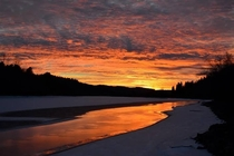 Beautiful sunset on the Coeur dAlene river in Harrison Idaho