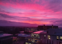 Beautiful sunset over the University of Bath