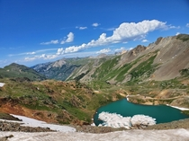 Beautiful view near the top of Hurricane Pass in San Juan County Colorado That amazing body of water is Lake Como
