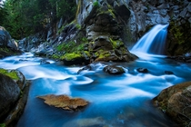Beautiful waterfall in Mt Rainier National Park