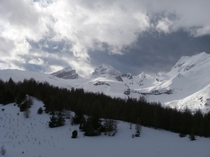 Beautiful winter mountain scenery at La Joue du Loup France