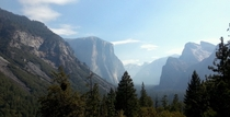 Beautiful Yosemite Valley filled with smoke