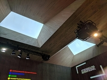 Beautifull ceiling windows of the newly built Helsinki science corner