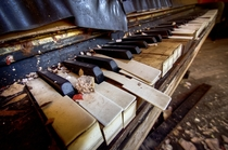 Beautifull piano in an abandoned caf