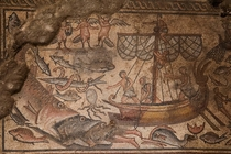 Beautifully elaborate mosaic excavated in  from an ancient synagogue in Northern Israel Dated to the Byzantine period c th century CE they stand as a rare example of Jewish mosaics