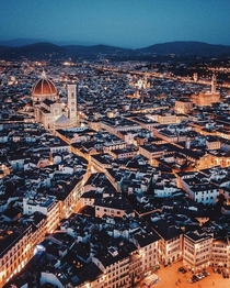 Beauty of cityscape with lights Florence-Italy