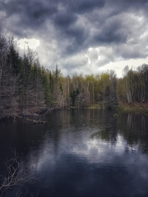 Beaver pond in Lanark Highlands Ontario Canada  OC