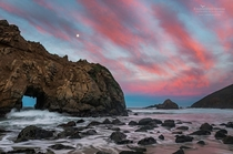 Because you dont always have to take the same shot as everyone else No sunbeam thru the rock Moon over Keyhole Rock Pfeiffer Beach Big Sur CA