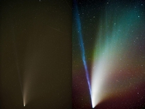 Before and after editing a stacked -minute Comet NEOWISE photo