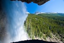 Behind the falls Banff National Park x