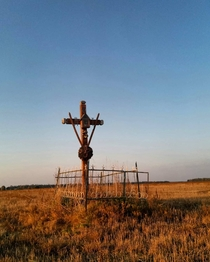 Belarus Previously the cross was placed at the entrance to the village now there are two houses left in the village and this cross