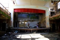 Belchertown School For the Feeble Minded Closed in  Backdrop from last school play still stands