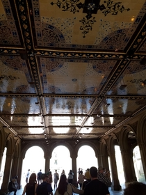 Beneath Bethesda Terrace The beautiful Minton Encaustic Tiles beneath the Grand Staircase in a tunnel that allows visitors of Central Park to enter the area near the fountain without having to cross the busy street Restrooms are close by as well tip for v
