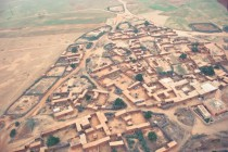 Berber village outside Marrakech Morocco from a hot air balloon