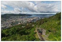 Bergen Norway from the top of the mountain Flyen - Including the popular funicular Flybanen