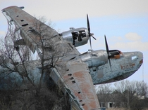 Beriev Be- flying boat at abandoned naval base near Mirny Crimea