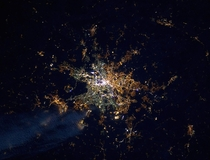 Berlins lights from space revealing the former path of the Berlin Wall