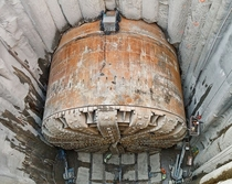 Bertha the broken tunneling machine in its access pit rseattle