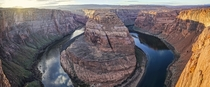 Best I could do at Horseshoe Bend Page AZ with a -photo panorama