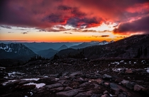 Best sunset Ive ever witnessed Mount Rainier National Park - Washington State USA OC