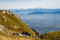 Between two ranges the French Alps and the Mont Blanc Massif viewed from the French Jura