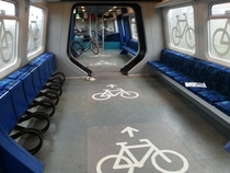 Bicycle racks on a train in Copenhagen Denmark