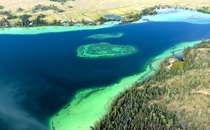 Big Bar Lake from the air located  miles East of  Mile House British Columbia Canada