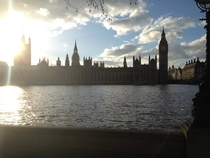 Big Ben and the UK Parliament across the river on a beautiful London day shot with iPhone