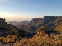 Big Bend State Park in Texas The top of Lost Mine Trail taken January th  at AM Southeast facing