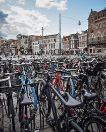 Bikes bikes and more bikes in Amsterdam Netherlands