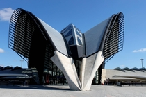 Bird-wings shaped airport and train terminal Lyon-Saint Exupry Airport France Built in