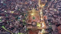 Birds Eye View of the Wazir Khan Mosque Walled City of Lahore