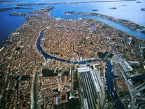 Birds-eye view of Venice Italy