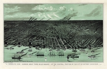 Birds eye view--showing about three miles square--of the central portion of the city of Detroit Michigan Calvert Lith Co Copyright stamp indicates this was made by