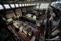 Birdseye view of the generating room in an abandoned power station